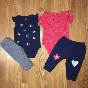Carters baby girl 4 piece bundle size 6 months